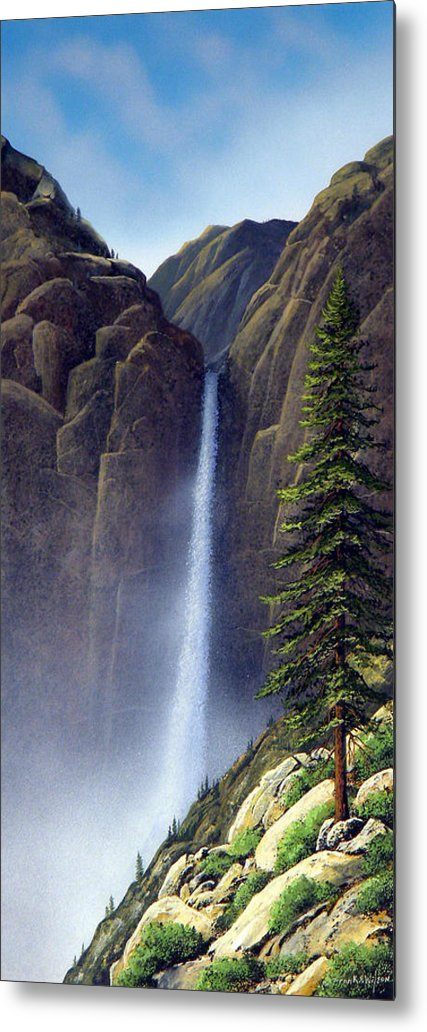 Wilderness Metal Print featuring the painting Waterfall by Frank Wilson