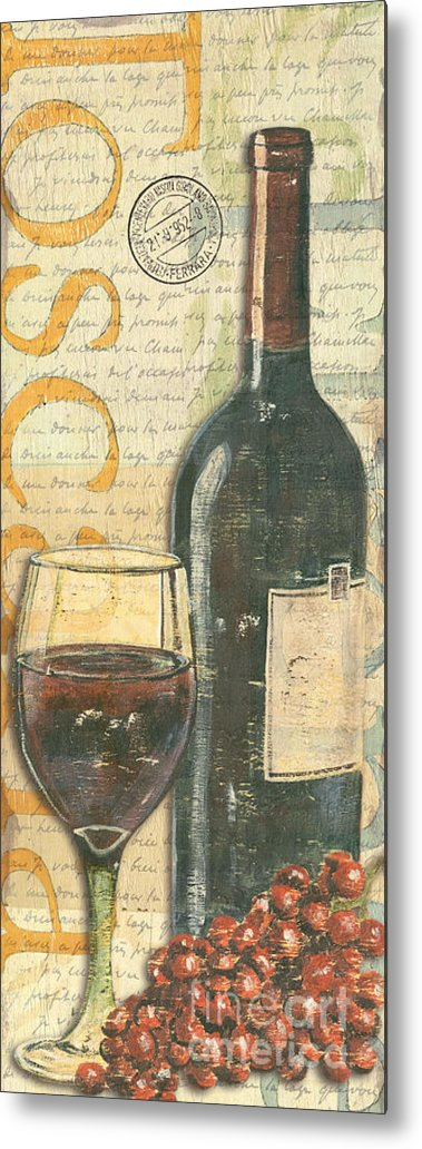 Wine Metal Print featuring the painting Italian Wine And Grapes by Debbie DeWitt