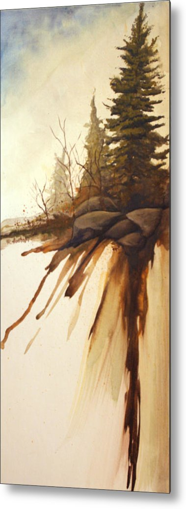 Rick Huotari Metal Print featuring the painting North Woods Pines by Rick Huotari