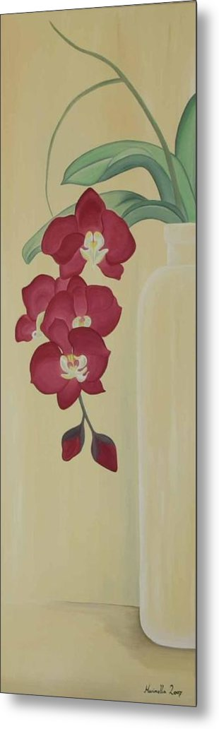 Marinella Owens Metal Print featuring the painting Pink Orchide In A Vase by Marinella Owens