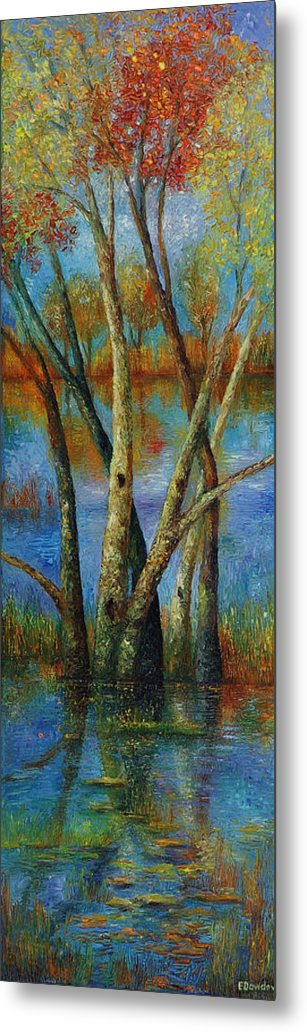 Landscape Metal Print featuring the painting Water - Right Part Of Triptych. by Evgenia Davidov