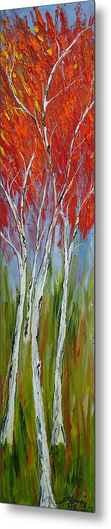 Metal Print featuring the painting Red Trees Of Autumn by Dunbar's Modern Art