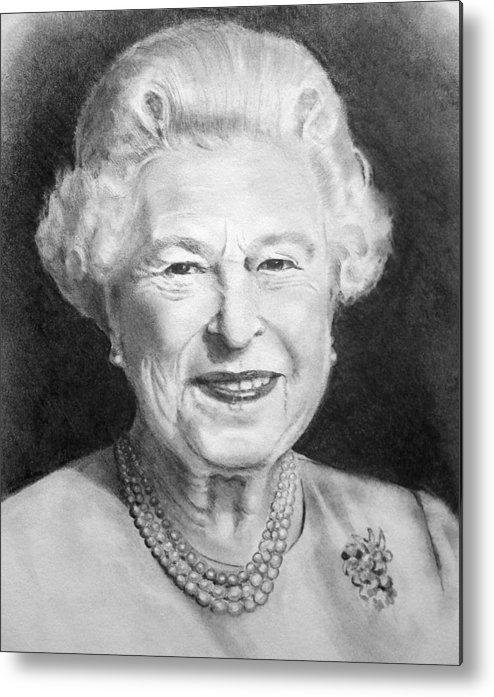 Queen Metal Print featuring the drawing Queen Elizabeth by Joyce Geleynse