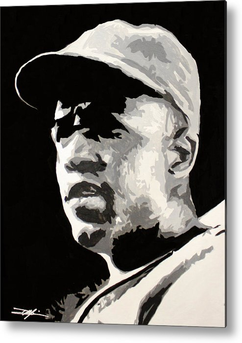 Jackie Robinson Metal Print featuring the drawing Robinson 42 by Don Medina