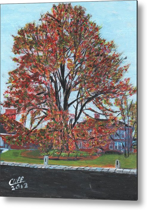 Tree Metal Print featuring the painting A Tree In Sherborn by Cliff Wilson
