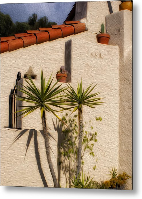 Palm Trees Metal Print featuring the photograph Adobe Wall by Don Schiffner