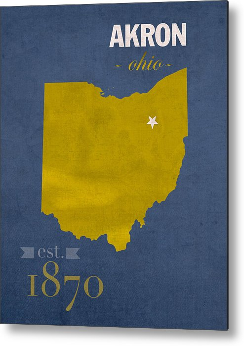 Akron Zips Metal Print featuring the mixed media Akron Zips Ohio College Town State Map Poster Series No 007 by Design Turnpike