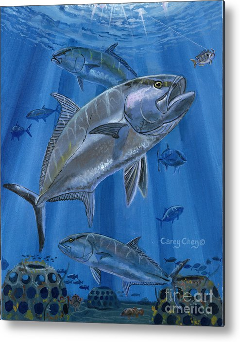 Amberjack Metal Print featuring the painting Amberjack In0029 by Carey Chen