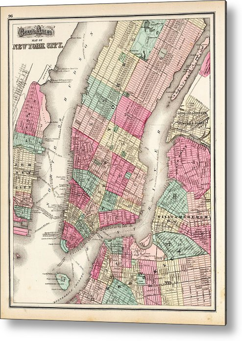 Currier And Ives Metal Print featuring the painting Antique Map Of New York City by Celestial Images
