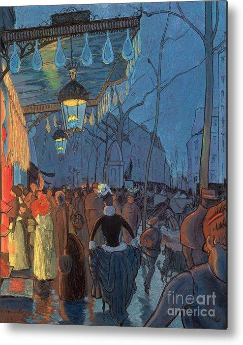 Evening Metal Print featuring the pastel Avenue De Clichy Paris by Louis Anquetin