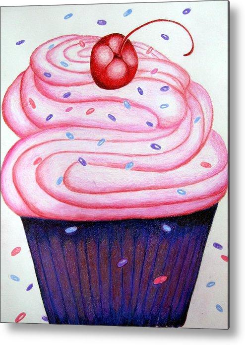 Cake Metal Print featuring the drawing Big Cupcake by Kori Vincent