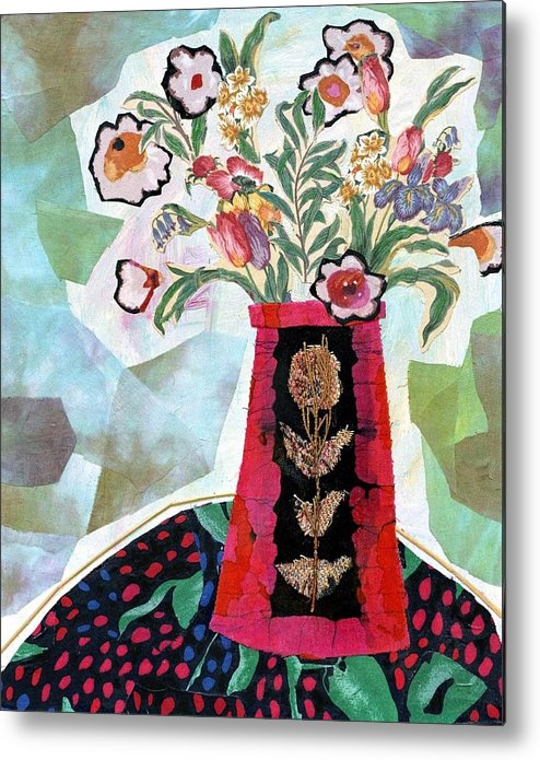Flowers In A Vase Metal Print featuring the mixed media Bird Blossom Vase by Diane Fine