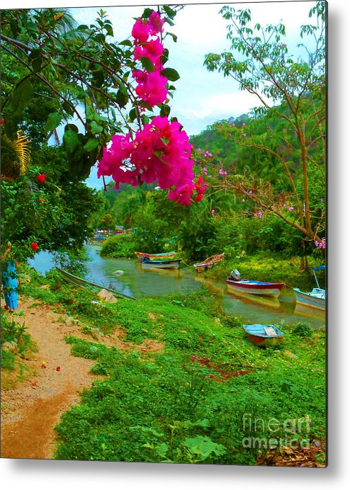 Travel Scene Metal Print featuring the photograph Bouganvilla Watches Over Village Fishing Boats by Pamela Smale Williams