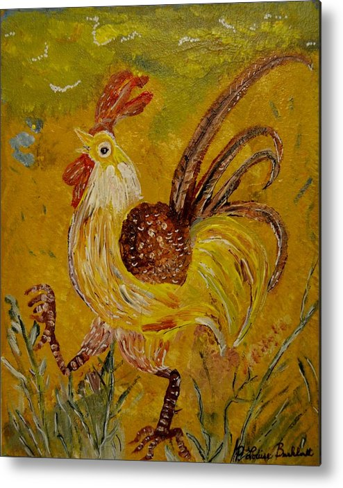 Chicken Metal Print featuring the painting Crazy Chicken by Louise Burkhardt