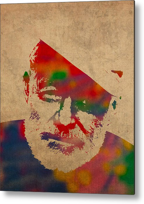 Ernest Hemingway Watercolor Portrait On Worn Distressed Canvas Metal Print featuring the mixed media Ernest Hemingway Watercolor Portrait On Worn Distressed Canvas by Design Turnpike