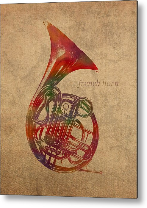 French Metal Print featuring the mixed media French Horn Brass Instrument Watercolor Portrait On Worn Canvas by Design Turnpike
