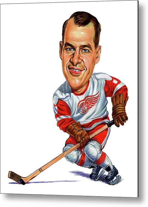 Hockey Metal Print featuring the painting Gordie Howe by Art