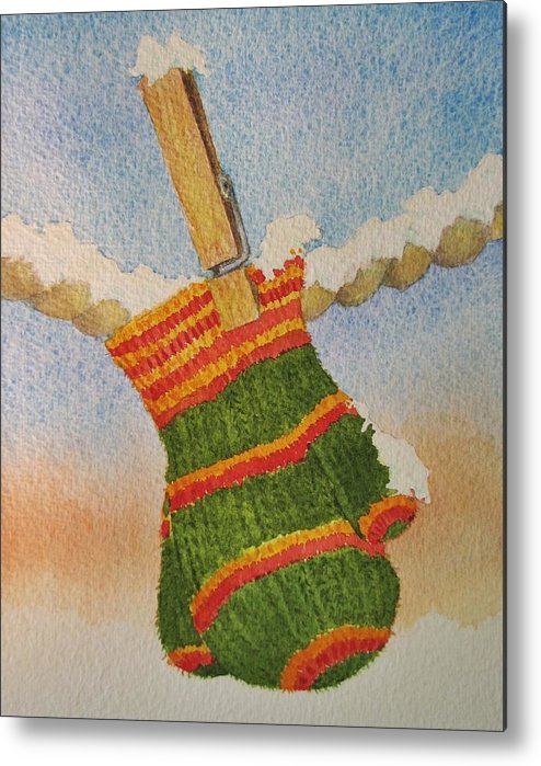 Children Metal Print featuring the painting Green Mittens by Mary Ellen Mueller Legault