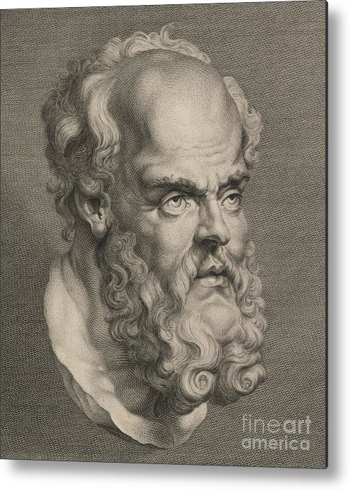 Philosopher; Socrates; Vertical; Portrait; One Man Only; One Person; Illustration And Painting; Text; Western Script; Beard; Moustache; Part Of; Human Head; Wisdom; Balding; Socrates Metal Print featuring the sculpture Head Of Socrates by Anonymous