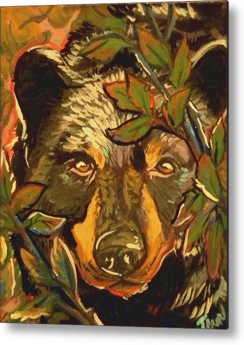 Black Bear Metal Print featuring the painting Hiding Bear by Jenn Cunningham