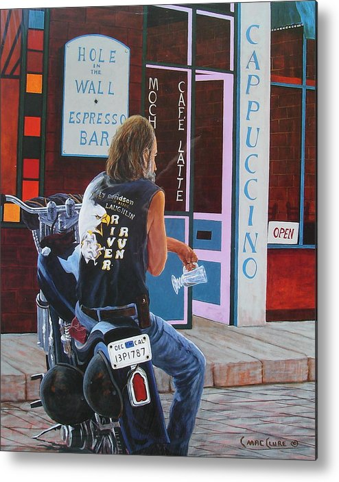Motorcycle Metal Print featuring the painting Hole In The Wall by Chris MacClure