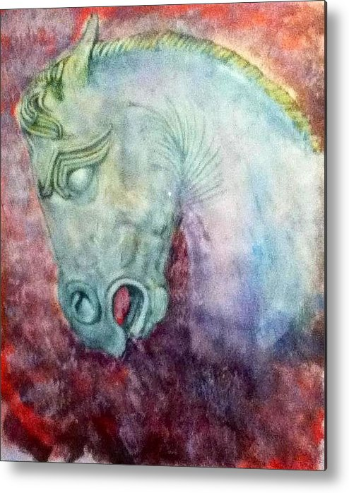 Acrylic On Paper Metal Print featuring the painting Horses Of The Hun by Oguzhan Bozdag