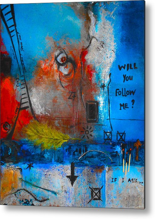Abstract Metal Print featuring the painting If I Ask by Mirko Gallery