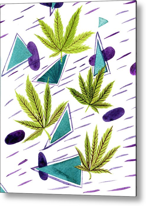 Blue Metal Print featuring the photograph Illustrations Of The Cannabis Leaf by Stock Pot Images
