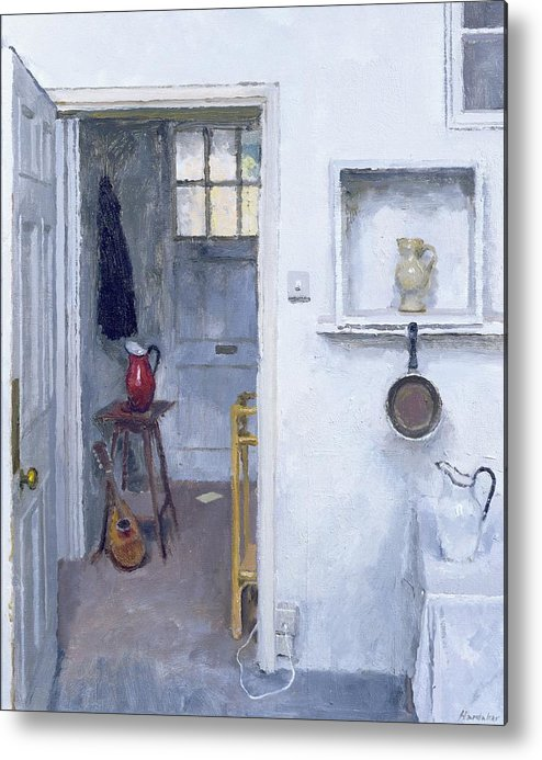 Saucepan; Guitar; Lute; Pitcher; Ewer; Kitchen; Pantry; Domestic; Back Door; Socket; Prise Electrique Metal Print featuring the painting Interior With Red Jug by Charles E Hardaker