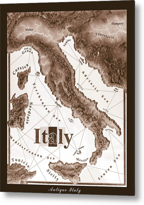 Italian Metal Print featuring the mixed media Italian Map by Curtiss Shaffer