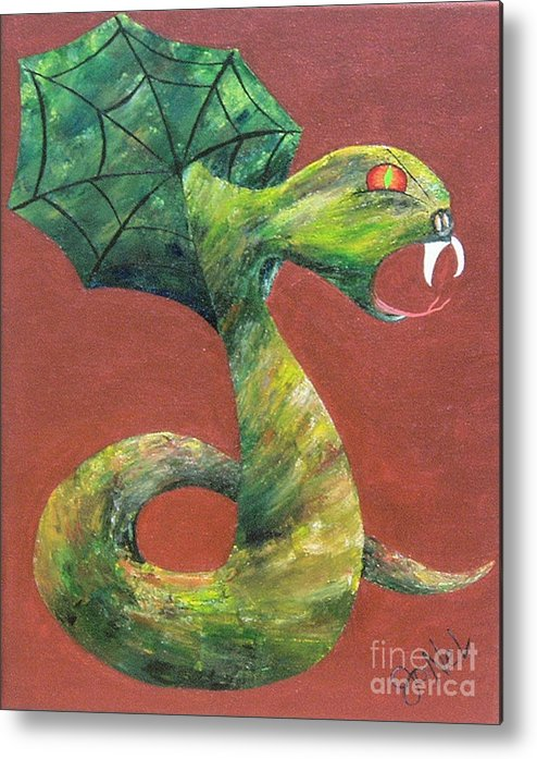 Dark Metal Print featuring the painting Khiel...the Snake by JoNeL Art