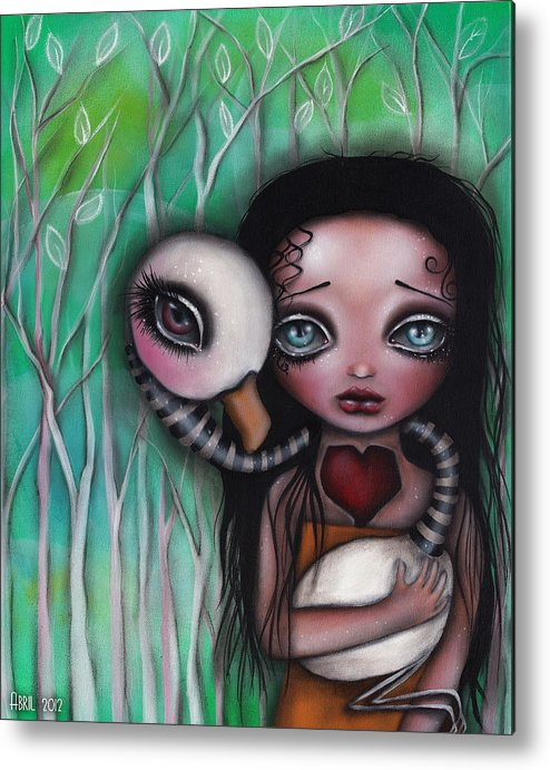 Flamingo Metal Print featuring the painting Never Alone by Abril Andrade Griffith