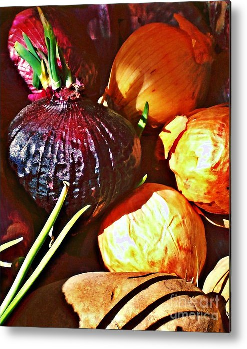 Onions Metal Print featuring the photograph Onions by Sarah Loft