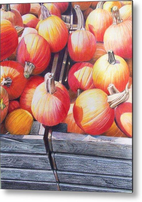 Pumpkins Metal Print featuring the painting Pumpkins by Constance Drescher