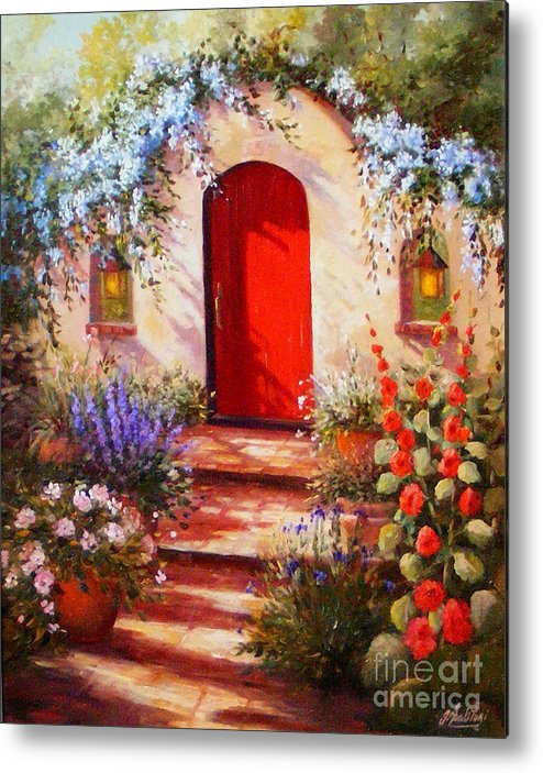 Red Door Metal Print featuring the painting Red Door by Gail Salitui
