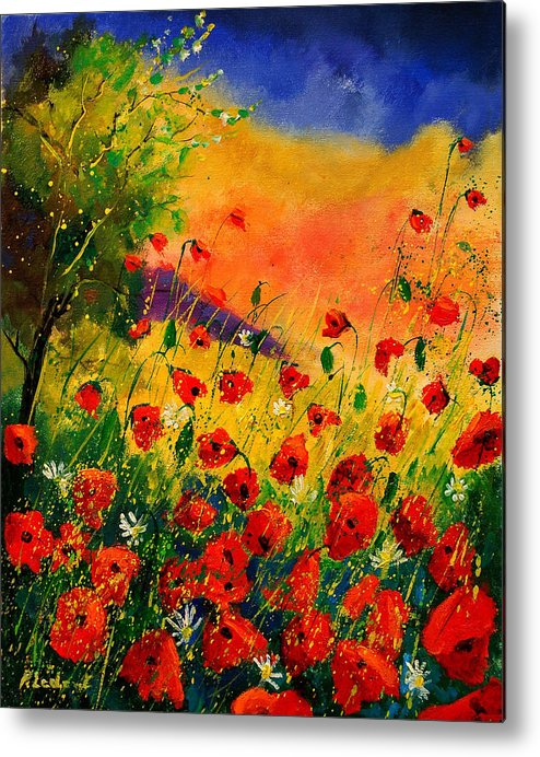 Poppies Metal Print featuring the painting Red Poppies 45 by Pol Ledent