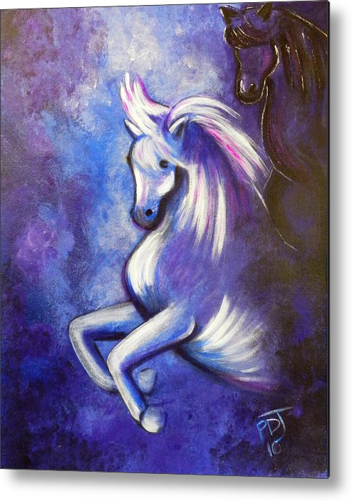 Horse Metal Print featuring the painting Righteousness And Justice by Pamorama Jones