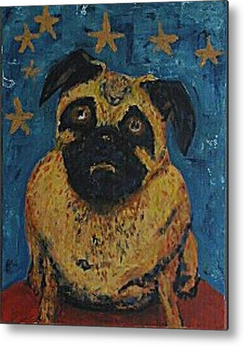 Portrait Of Ringo The King Of The Pug Dogs Metal Print featuring the painting Ringodog by Jason Ice