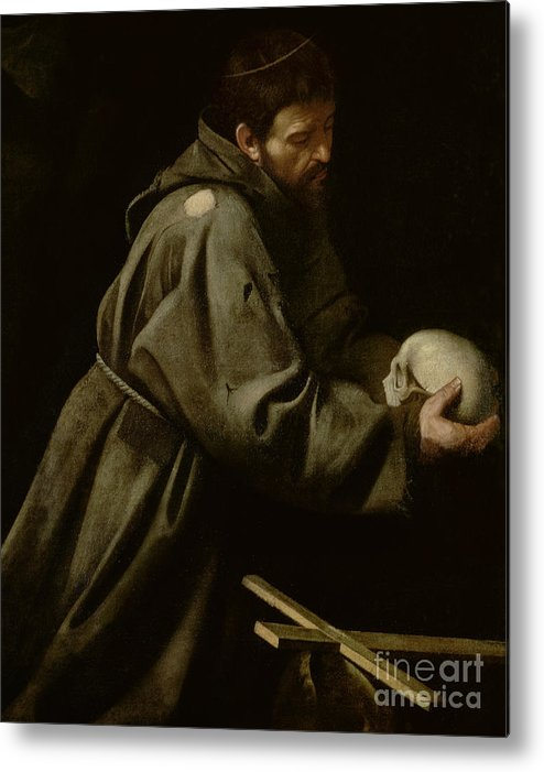Monk Metal Print featuring the painting Saint Francis In Meditation by Michelangelo Merisi da Caravaggio