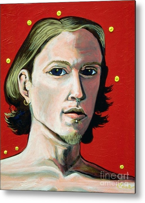 Artist's Self Portrait 1995 Metal Print featuring the painting Self Portrait 1995 by Feile Case