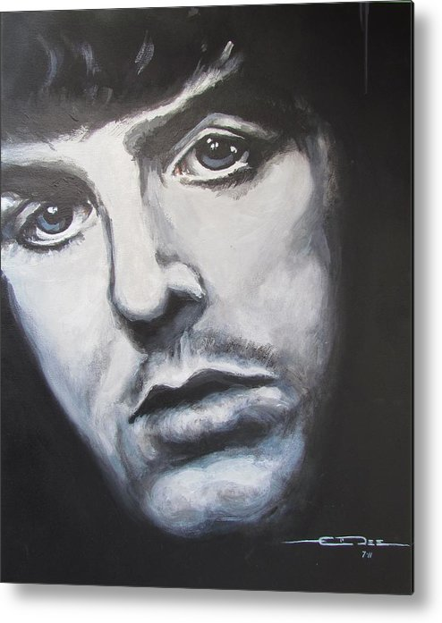 Celebrity Portrait Paul Mccartney During The Beatles Era. Metal Print featuring the painting Sir Paul Mccartney by Eric Dee