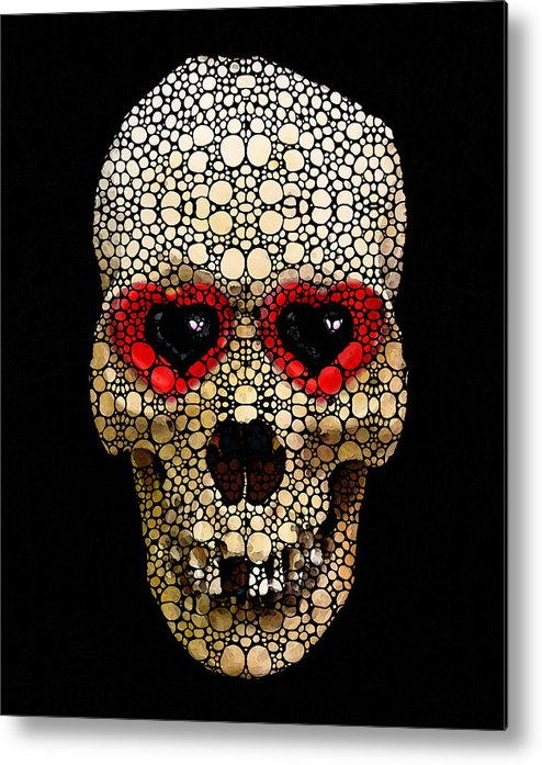 Skull Metal Print featuring the painting Skull Art - Day Of The Dead 3 Stone Rock'd by Sharon Cummings