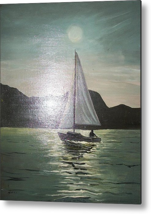 Boat Metal Print featuring the painting Sunset Bliss by Chauncy Richard
