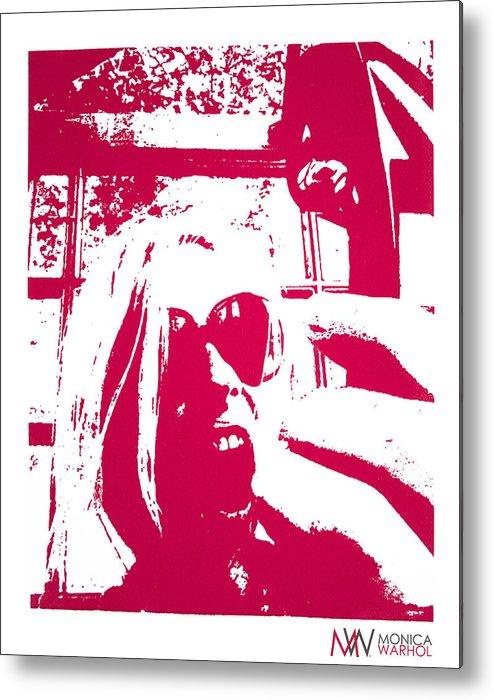Monica Warhol Metal Print featuring the painting Ta Ta Telephone by Monica Warhol
