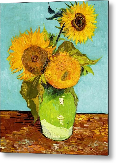 Van Gogh Metal Print featuring the painting Three Sunflowers In A Vase by Vincent Van Gogh & Three Sunflowers In A Vase Metal Print by Vincent Van Gogh
