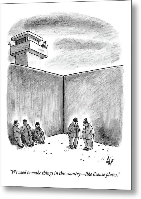 Prison Metal Print featuring the drawing Two Prisoners Talk In The A Prison Yard by Frank Cotham