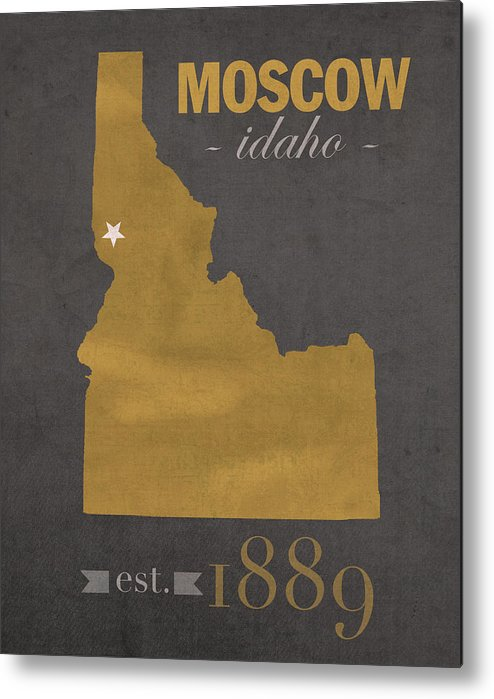 University Of Idaho Vandals Moscow College Town State Map Poster