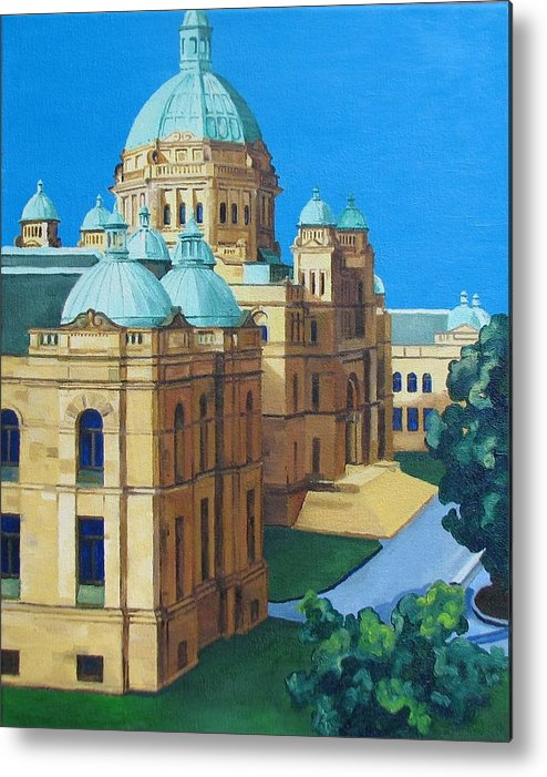 Victoria Bc Metal Print featuring the painting Victoria Bc Parliament by Nel Kwiatkowska