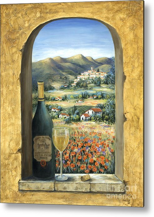 Wine Metal Print featuring the painting Wine And Poppies by Marilyn Dunlap