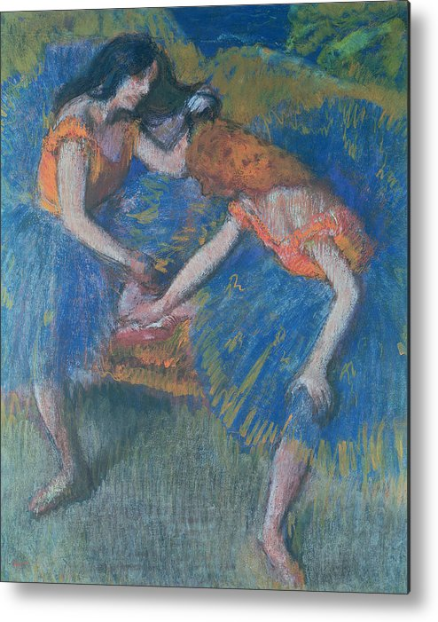 Ballet; Ballerinas; Ballerina Metal Print featuring the pastel Two Dancers by Edgar Degas